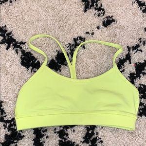 lululemon neon yellow sports bra w meshy back